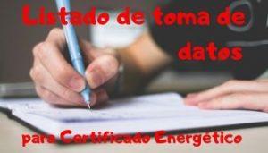 Listado de toma de datos para Certificado Energético