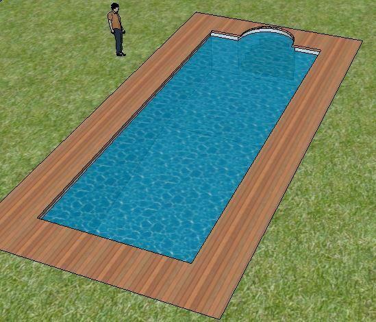 Sketchup piscina con cesped
