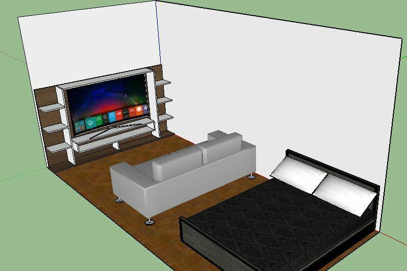 sala de estar diseñada con Sketchup