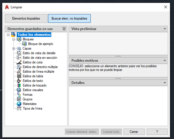 como eliminar bloque de CAD comando limpia